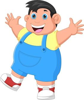 Kreskówka szczęśliwy gruby chłopiec macha