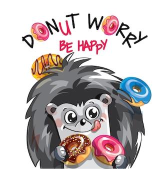 Kreskówka szczęśliwy jeż zabawy z pączkami. kartka z życzeniami, pocztówka. nie martw się, bądź szczęśliwy.