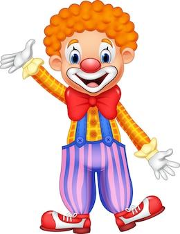 Kreskówka szczęśliwy klaun macha ręką