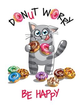 Kreskówka szczęśliwy kotek zabawy z pączkami. kartka z życzeniami, pocztówka. nie martw się, bądź szczęśliwy.