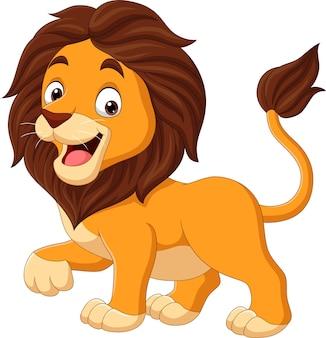Kreskówka szczęśliwy lew na białym tle