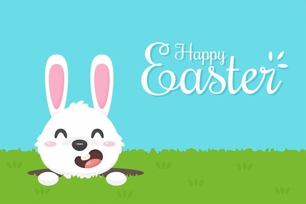 Kreskówka szczęśliwy mały króliczek wychodzi z dziury w trawniku podczas wielkanocy.