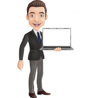 Kreskówka szczęśliwy młody biznesmen trzyma laptop