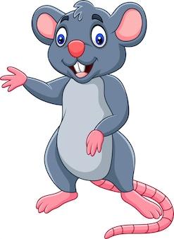 Kreskówka szczęśliwy myszy macha