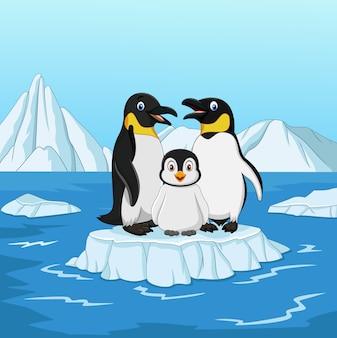 Kreskówka szczęśliwy pingwin rodziny stojący na krze
