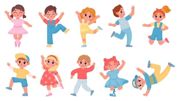 Kreskówka szczęśliwy taniec i skoki dla dzieci chłopców i dziewcząt. dzieci tańczą radość z zabawy. pozy baletowe i aerobik. charakter dziecko zabawy wektor zestaw. młodzież spędzająca wolny czas aktywnie i zadowolona