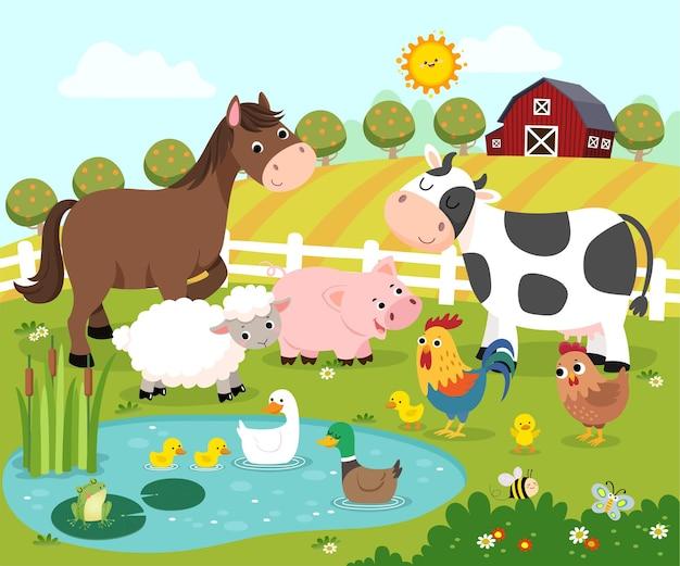 Kreskówka szczęśliwych zwierząt gospodarskich