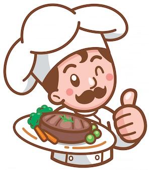 Kreskówka szef kuchni przedstawia jedzenie