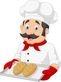 Kreskówka szef kuchni serwuje chleb