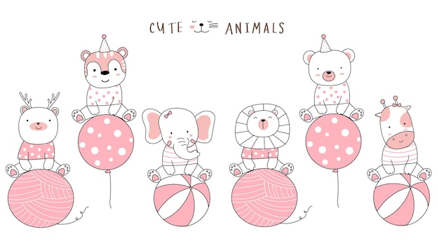 Kreskówka szkic uroczych zwierzątek z balonem ręcznie rysowane stylu