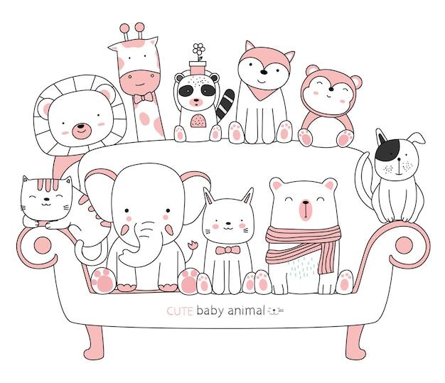 Kreskówka szkic uroczych zwierzątek z przyjaciółmi ręcznie rysowane stylu