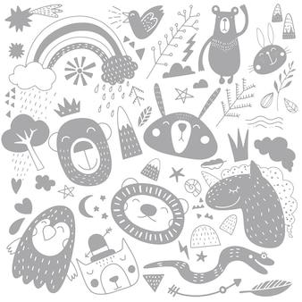 Kreskówka szkic zwierząt ilustracji