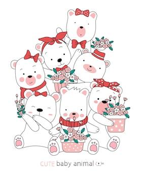 Kreskówka szkic zwierzęta ładny niedźwiedź. ręcznie rysowane styl.