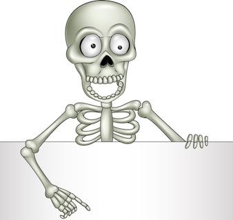 Kreskówka szkielet gospodarstwa pusty znak