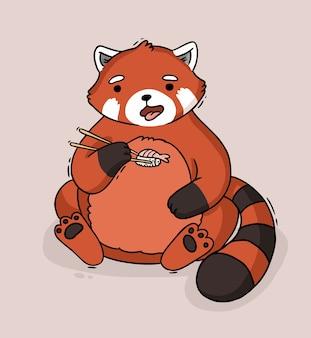 Kreskówka szop czerwona panda jedzenie sushi