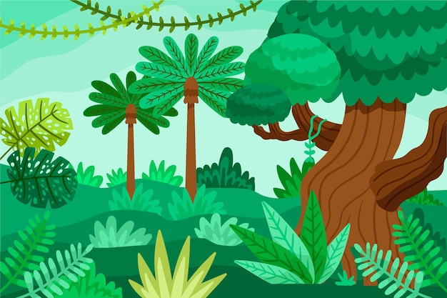 Kreskówka tło dżungli z bujną roślinnością