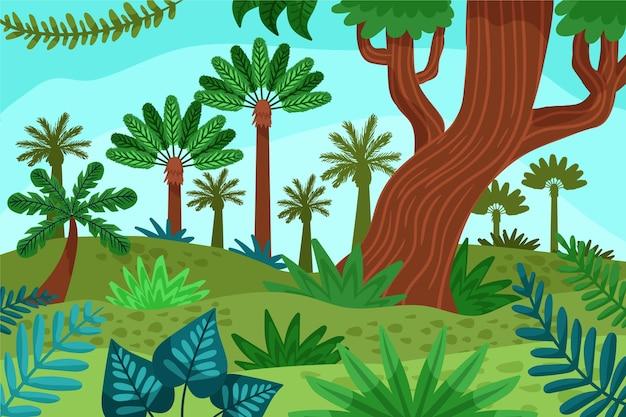 Kreskówka tło dżungli z pięknymi wysokimi drzewami