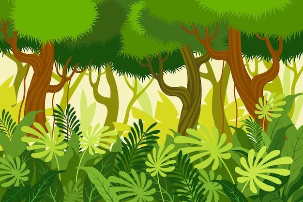 Kreskówka tło dżungli z wysokimi drzewami