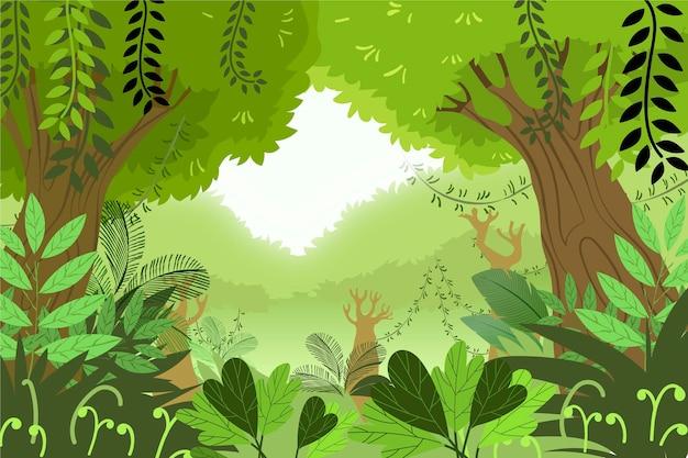 Kreskówka tło dżungli