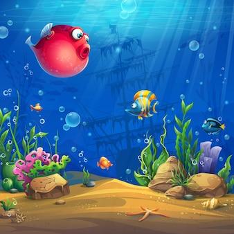 Kreskówka tło ilustracja podwodnego świata