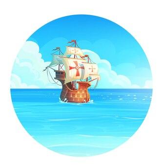 Kreskówka tło ilustracja statku na oceanie