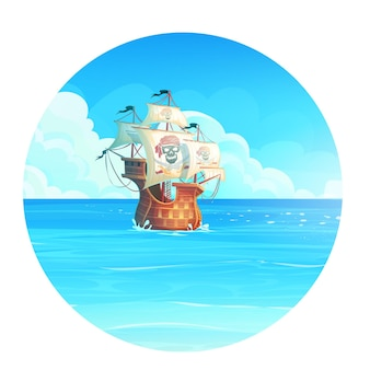 Kreskówka tło ilustracja statku pirackiego na oceanie
