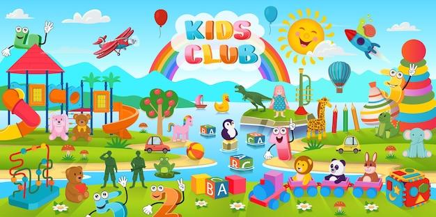 Kreskówka tło z dużą ilością zabawek i plac zabaw dla dzieci