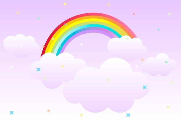 Kreskówka tło z tęczy na niebie i chmurach do projektowania graficznego. wektor ilustracja słodkie tło z gwiazdami na tapetę.