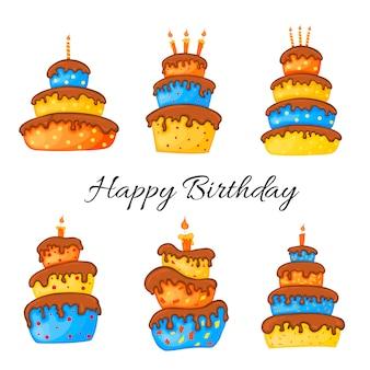 Kreskówka tort ilustracja ze świecą zestaw happy birhday