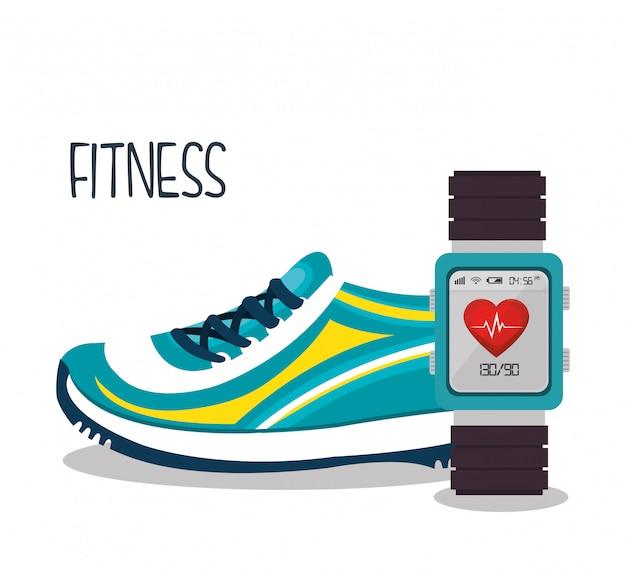 Kreskówka trampki inteligentny zegarek sportowe elementy projektu