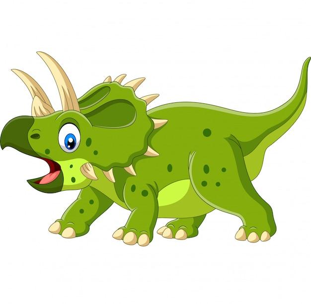 Kreskówka triceratops na białym tle