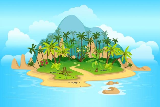 Kreskówka tropikalna wyspa z palmami. góry, niebieski ocean, kwiaty i winorośl. ilustracja