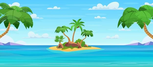 Kreskówka tropikalna wyspa z palmami