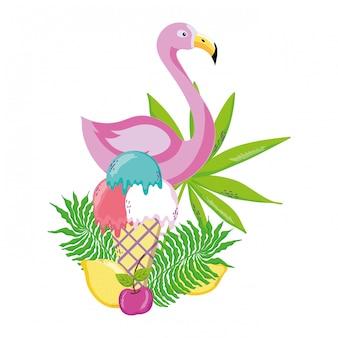 Kreskówka tropikalny ptak flamingo