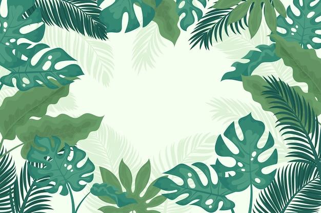 Kreskówka tropikalnych liści tło