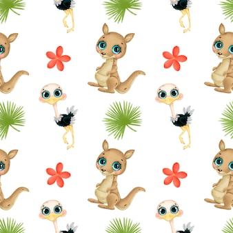 Kreskówka tropikalnych zwierząt wzór. kangur, struś, tropikalne kwiaty i liście wzór. wzór zwierząt australijskich.