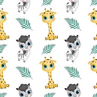 Kreskówka tropikalnych zwierząt wzór. wzór żyrafa, zebra i dłoń pozostawia.