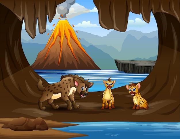 Kreskówka trzy hieny na ilustracji jaskini