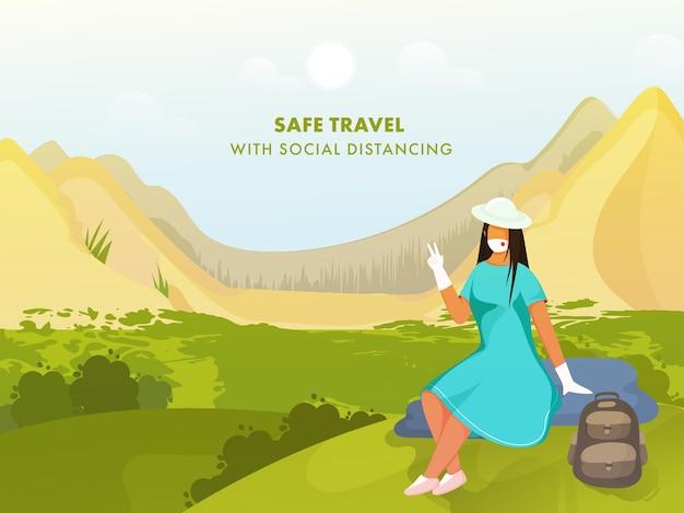 Kreskówka turysta młoda dziewczyna pokazuje dwa palce z nosić maskę medyczną na tle przyrody krajobraz słońca. powstrzymaj pandemię koronawirusa.