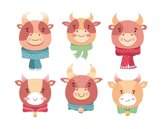 Kreskówka twarze byków. symbol nowego roku 2021. zabawny wół w szalikach, dzwoneczkach i kokardkach. postać z kreskówki dziecko zwierzę uśmiecha się. cielęta kawaii. płaska ilustracja w stylu skandynawskim