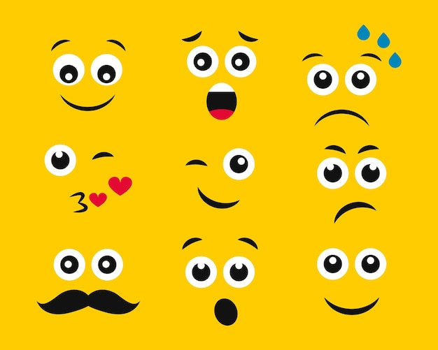 Kreskówka twarze z emocjami na żółtym tle. zestaw dziewięciu różnych emotikonów. ilustracja wektorowa