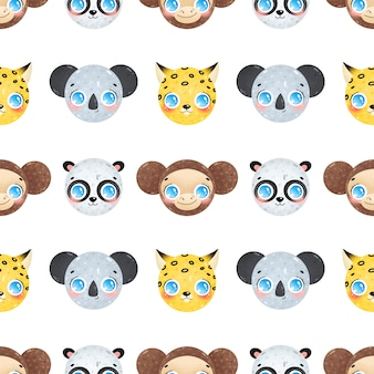 Kreskówka twarze zwierząt dżungli wzór. koala, panda, lampart, małpa wzór.