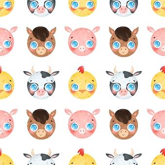 Kreskówka twarze zwierząt gospodarskich wzór. krowa, koń, kurczak, świnia wzór.