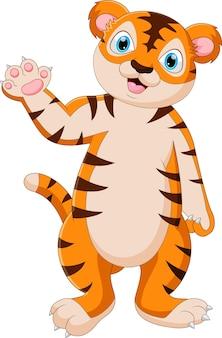Kreskówka tygrys dziecka stojący i macha