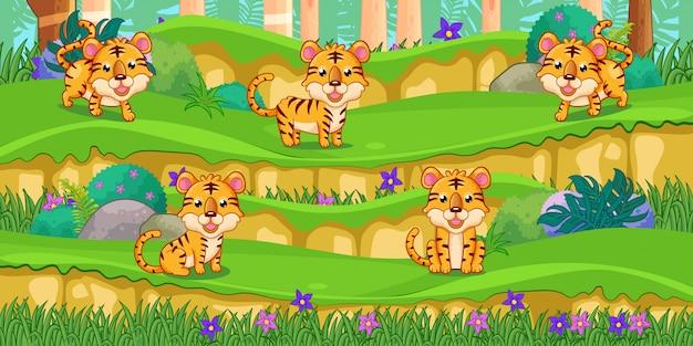 Kreskówka tygrysy w pięknym ogrodzie