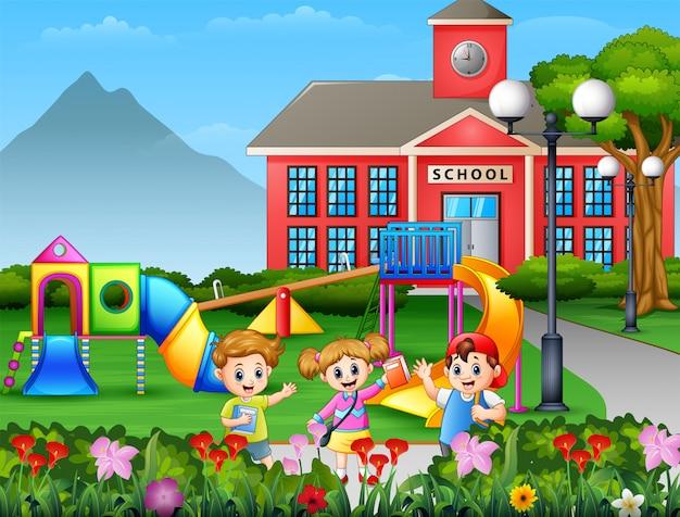 Kreskówka uczeń bawić się przy szkolnym jardem
