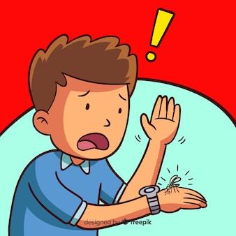 Kreskówka ukąszenia komara tło