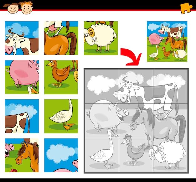 Kreskówka układanki zwierząt gospodarskich