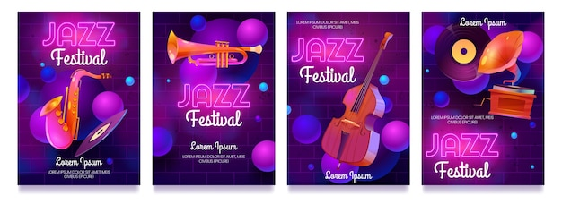 Kreskówka ulotki festiwalu jazzowego