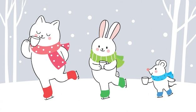 Kreskówka urocze zwierzęta zimą, kot, królik i mysz piją kawę.